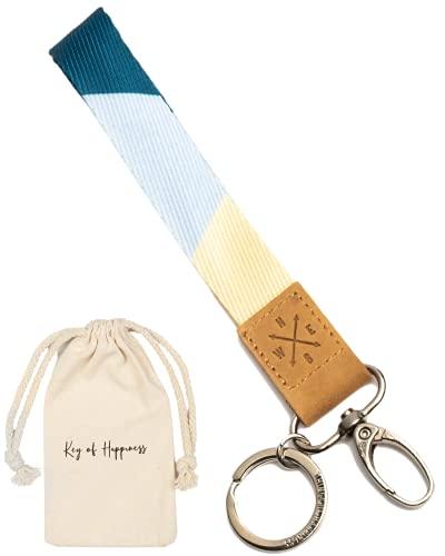 Schlüsselband kurz mit Schlüsselring & Karabiner   Schlüsselanhänger Kunstleder   Keychain als Geschenk für Damen und Herren   Lanyard kurz für Auto-, Wohnungs-, Fahrradschlüssel   Blau/Gelb