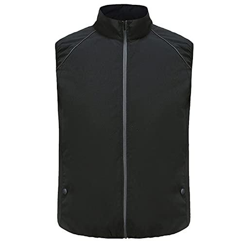 Veste de Vêtements de Climatisation Ventilateur Réfléchissant Polyester sans Manches Adultes,Black,XXL