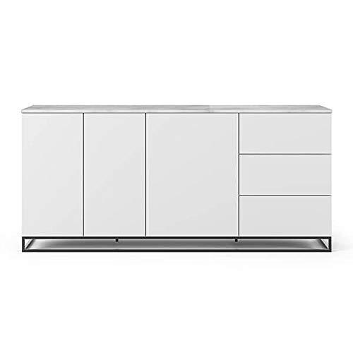Buffets Design et élégants, Collection Join, signée TEMAHOME. - Join 200H1, piétement Acier Noir, Blanc Mat, Plateau en marbre Blanc