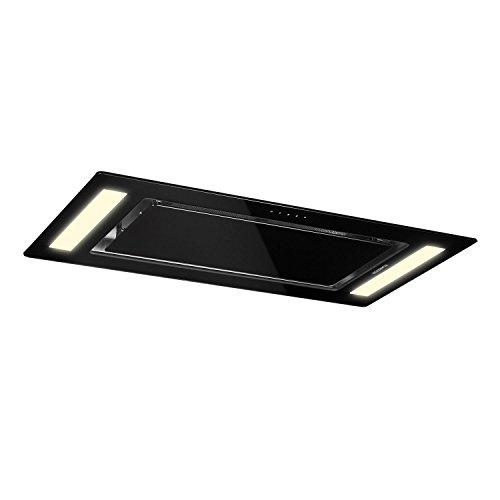 Klarstein Remy - Campana extractora, Bajo mueble, Campana para techo, 90 cm de ancho, Modo aire circulante, Potencia de extracción de 620 m³/h, Filtros anti grasa de aluminio, Negro