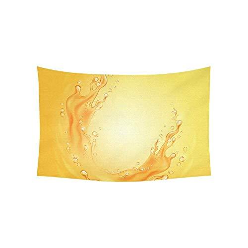 WSMWHX Wandteppich Orangensaft Rahmen Spritzer Wasser Honig Wandteppiche Wandbehang Blume Psychedelische Wandteppich Wandbehang Indisches Wohnheim Dekor Für Wohnzimmer Schlafzimmer-M / 150Cmx130Cm