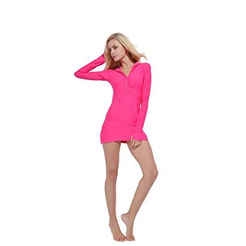 Eaylis Damen Bademode Sexy Bikini Solide Langarm Sonnencreme Surfen Schnorcheln Tauchen Badeanzug Kleid Strandmode Sport Schwimmanzug