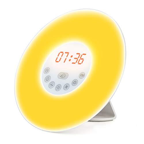 Wake up Light, Luce Sveglia da Comodino con Simulazione dell'Alba e Tramonto, 10 Luminosità, Funzione Snooze, Radio FM , 7 Suoni Naturali, Per Adulti e Bambini