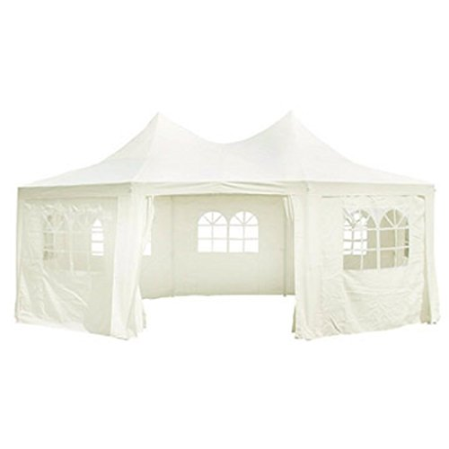 Anself Octagonal Party Tent Gazebo Wedding Marquee Tent White (cream) 6 x 4.4 x 3.5 m.