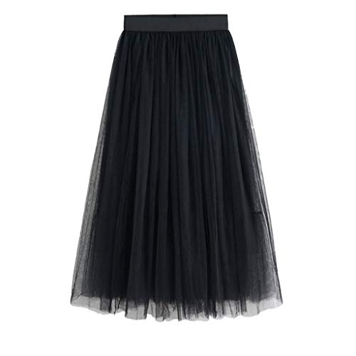 Julhold - Falda de tul de doble capa con tobillo, tutú, para mujer, cintura elástica, para niña, de gasa, para verano Negro M