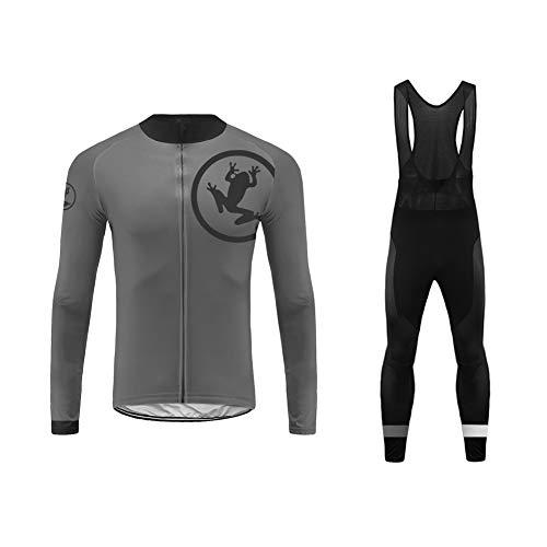 Future Sports UGLYFROG Bike Wear Designs Maillots de Bicicleta Maillots de Bicicleta Traje de Invierno Hombres Ropa de Ciclo Jersey de Manga Larga + Pantalones Bib Acolchados Cómodo Respirable Secado