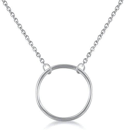 Yiffshunl Collar Collares con Colgante Mujer Plata Mujer círculo geometría Creativa Hueco 10mm fion Collares joyería Simple Pendientes Regalos para Dama Esposa mamá Novia niñas Novia