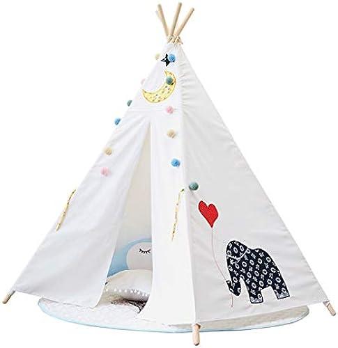 Kinderspielzelt Zelt Für Kinder Kinderspielhaus Kinderzelte Jungen mädchen Spielzeug Indoor Outdoor Spielhaus Camping Spielplatz (Farbe   Weiß Größe   Tent+mat)