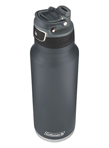 Coleman FreeFlow AUTOSEAL Insulated Stainless Steel Water Bottle, Slate, 40 oz.
