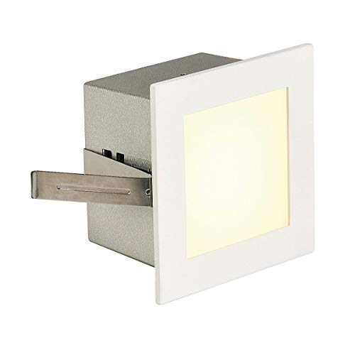 SLV LED Einbauleuchte Frame Basic   Wand- und Deckenleuchte zum Einbau   Eckig, Weiß, 3000K Warmweiß   Stilvolle Wandleuchte, Einbau-Strahler LED Treppen-Beleuchtung, Stufen-Licht, Treppenlicht