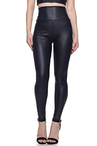 J2 LOVE Made in USA Women's Faux Leather Hiigh Waisted Leggings (also in Plus Size), 3X Plus, Black