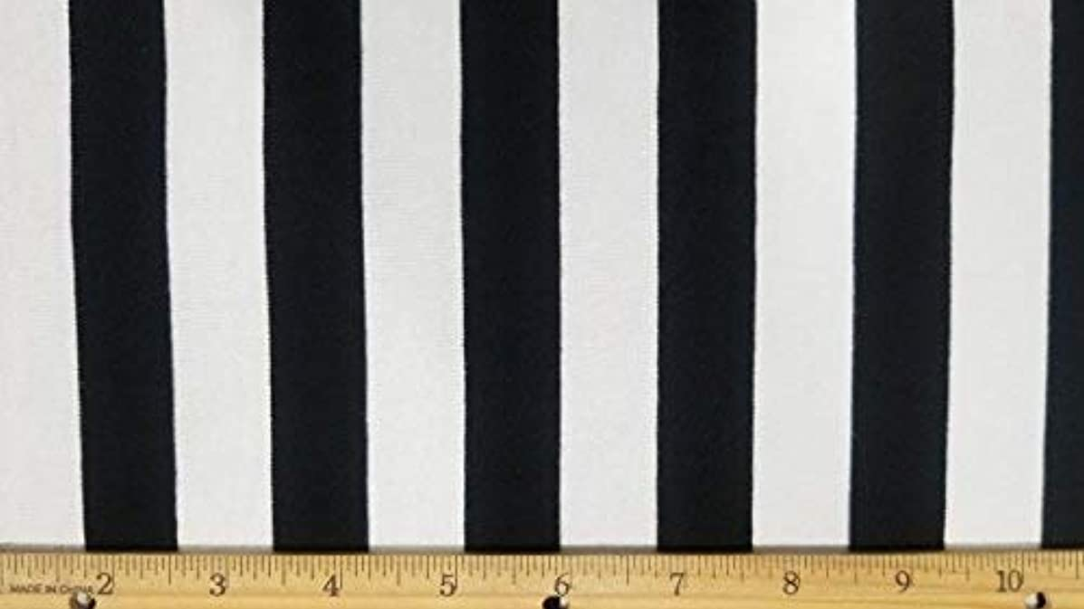 Rayon Spandex Knit Black&White Stretch Stripe Yarn Dye Fabric (2 Yards)