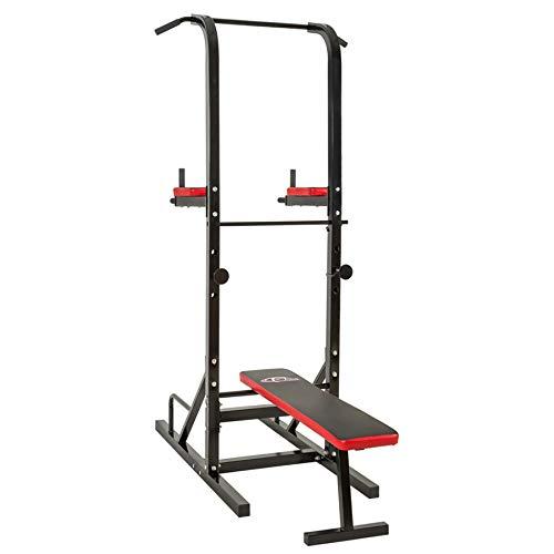 Station de Musculation, Multifonction, avec Dips Barre de Traction, Rouge Noir