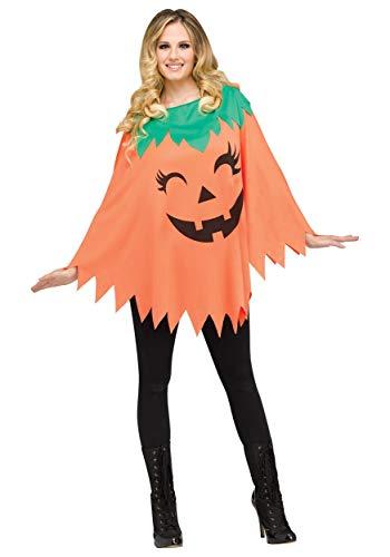 Women's Pumpkin Poncho Costume Standard