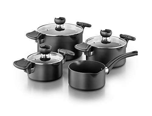 Kopf Topfset NELA aus Aluguss, Induktion-Kochtopf-Set mit intelligenter Abgießhilfe, 3X Töpfe mit Glasdeckel und 1x Stielkasserolle, 7-teilig