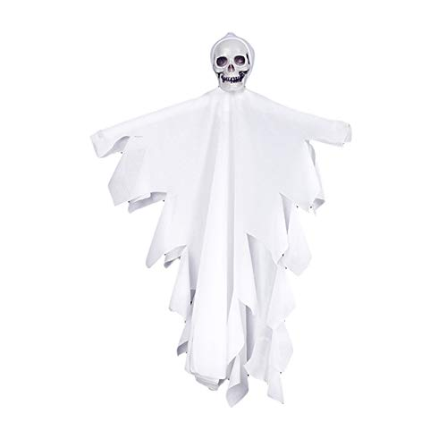 zhenleisier Halloween Decoration,Scary Hanging Skull Ghost Pendant Pub Home Decor Spook Party Props Halloween Hanging Sign Indoor Pendant White