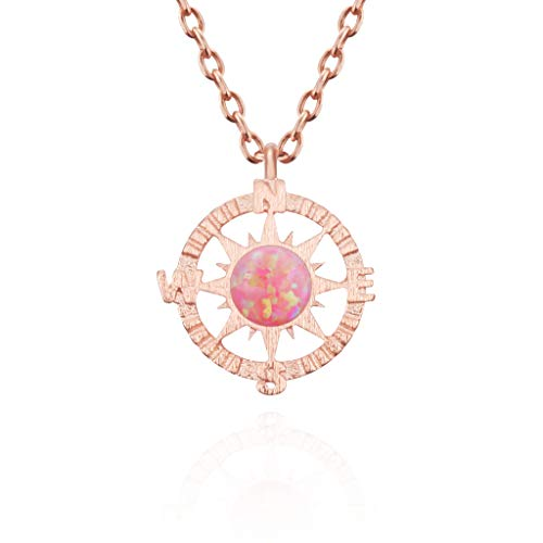 MUSTHAVE Compass 14K Rose Gold Plated Dainty Opal Necklace, 14K Rose Gold Plated & Anchor Chain, White/Green/Pink Opal Necklace, Size 16 inch + 2 inch Extender (Rose Gold)