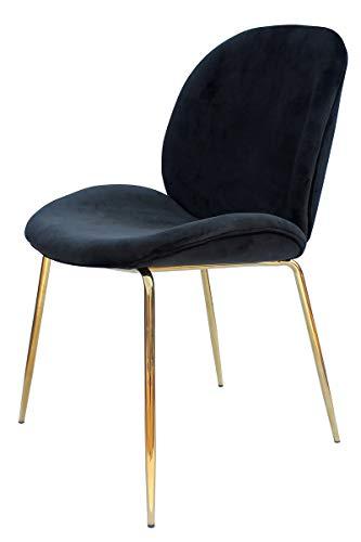 Stuhl Esszimmerstuhl Sitzstuhl Sitzhocker Hocker Wohnzimmer Schlafzimmer 2er-Set Schwarz/Messing