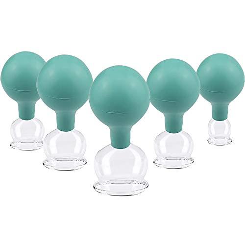 5 Stück verschiedene Größen Schröpfglas aus Echtglas, Feuerlosen Schröpfen mundgeblasen, Schröpfglas für Massage