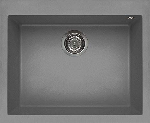Elleci LKQ11097 Kitchen Sink Made of Granite (Keratek) with a Single Bowl Quadra 110-K97 Grey-LKQ11097, Light Grey