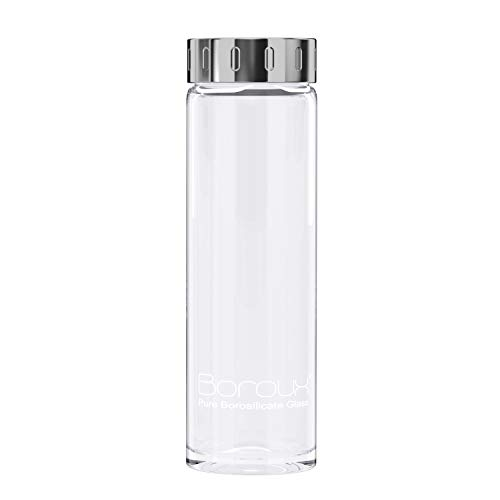 Boroux Glass Water Bottle 500ml Handmade BPA Free Pure Borosilicate Glass