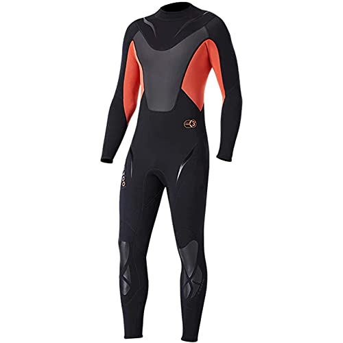 POOPFIY Traje de Neopreno de 3 mm para Hombre, Traje de Buceo para Surf, Traje húmedo para Buceo en Agua fría, Snorkel, Pesca submarina,Rojo,XL