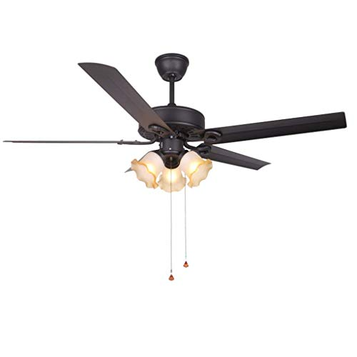 Ventilador de techo retro, luz, ventilador de techo industrial nórdico, luz de control de cable, hoja de hierro con 3 pantallas de vidrio para la sala de estar, lámpara de ventilador de estudio, luz d
