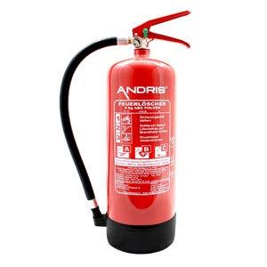 orig. ANDRIS® Marken-Feuerlöscher 6kg ABC Pulverlöscher mit Manometer EN 3 inkl. Wandhalterung & ANDRIS® Prüfnachweis mit Jahresmarke