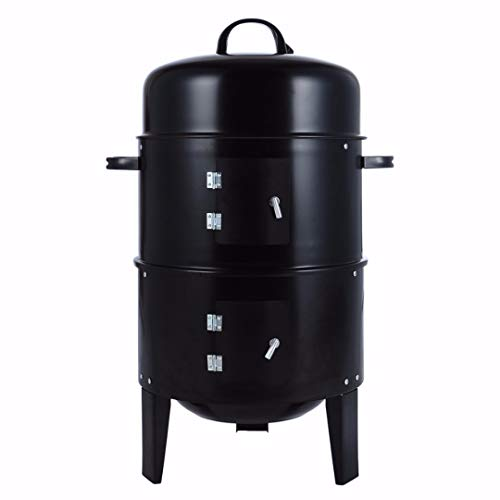 Sale!! Tocawe 3 in 1 Portable Charcoal Vertical Smoker Grill BBQ Roaster Steel Water Steamer for Out...