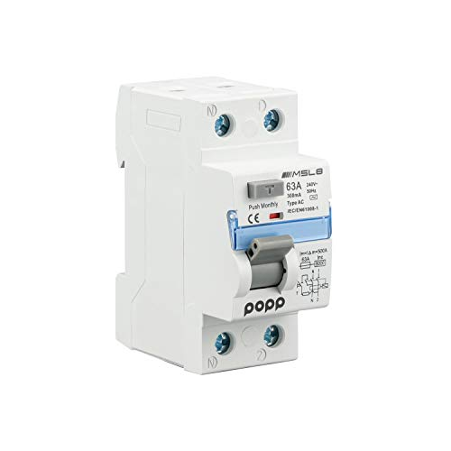 POPP Electric Interruptor diferencial industrial TIPO AC 2 Polo 4 Polo 30mA 300mA SERIE MSL8 (63A 300mA, 1P+N)