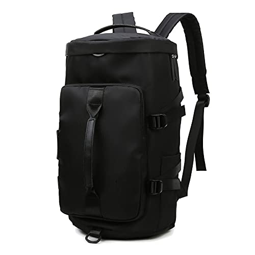 MIMITU Gym Duffle Bag Mochila Impermeable Sports Duffel Bag Travel Weekender Bag, Equipaje de mano con compartimento para zapatos, Negro