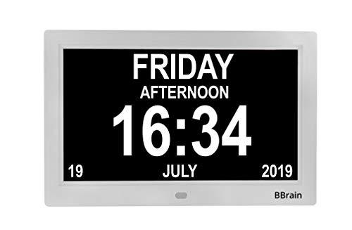 BBrain Basic Seniorenuhr Digitale Uhr - Demenz Alzheimer Senioren - in Weiß - mit Erinnerungsfunktion für Medikamente und Beleuchtung