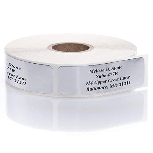 Silver Foil Rolled Address Labels Without Elegant Dispenser - Roll of 250