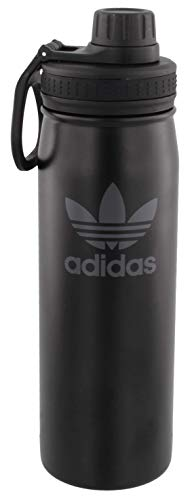 adidas Originals 18/8 Edelstahl-Flasche, heiß/kalt, isolierte Metallflasche, schwarz/grau, 6 Stück, Einheitsgröße