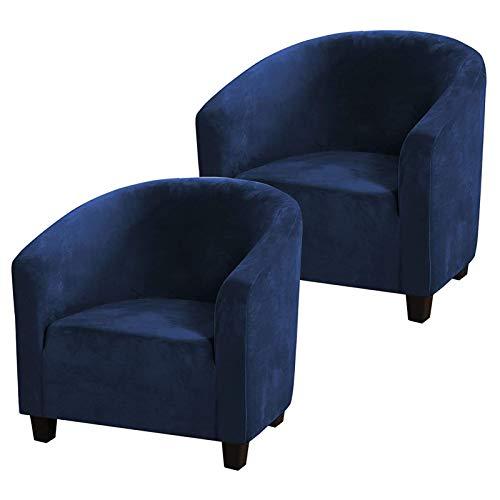 Funda De Sillón Chesterfield Terciopelo,Cubierta Suave del Tub Chair De La Felpa del Terciopelo,Cubiertas De Los Muebles De Lujo Contador, Salón,Fundas Butacas (Azul Marino,2 Pack)