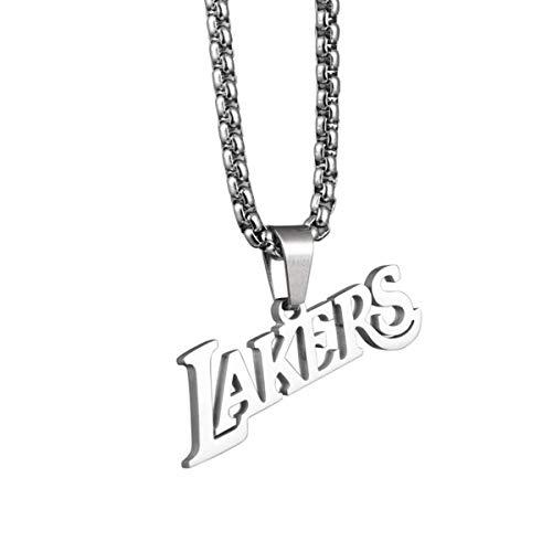 ANLW Unisex Halskette Meisterschaft Anhänger Stabiler Kopf Titan Stahl Anhänger Hip Hop, Basketball-Fans,Silber