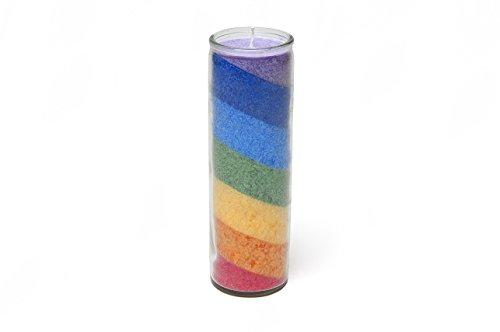 Regenbogen Chakra Stearin Kerze mit Glas neutral im Duft Brenndauer 100 Stunden