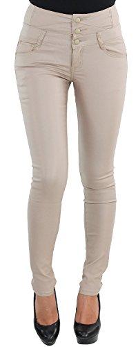 Damen Skinny Leder Look Slim Fit Hose Stretch Röhre Röhrenhose Hochschnitt Corsagenhose Kunstleder Beige W533-2-beige XS/34
