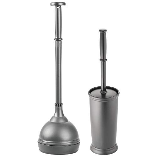 mDesign Modern Slim Compact Freestanding Plastic Toilet Bowl Brush and Plunger Combo Set with Holder for Bathroom Storage - Sturdy, Heavy Duty, Deep Cleaning - Charcoal Gray