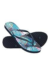 Mountain Warehouse Bedruckte Strand-Flip-Flops – leichte Sandalen, Single Strap, Eva-Fußbettschuhe – ideal für Strand, Sommerreisen, Urlaub und Picknick Grün 40 EU