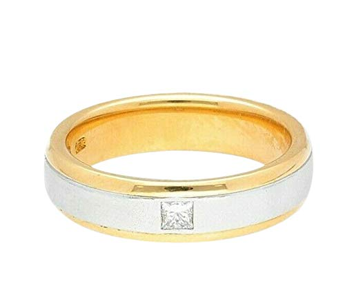 Alianza de boda de oro amarillo de 18 quilates con diamante de...