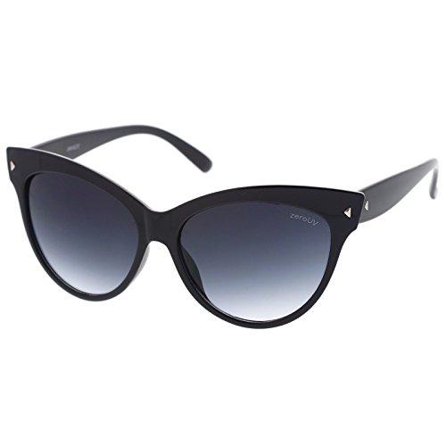 zeroUV - Oversize Vintage Mod Womens Fashion Cat Eye Sunglasses 59mm (Black)