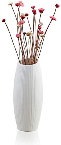 BERTY·PUYI Florero de cerámica con diseño de Flores de Estilo nórdico, jarrones creativos, Decoraciones para Sala de Estar, decoración del hogar, Adornos de Boda, Blanco