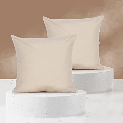 Viste tu hogar Pack 2 Fundas de Cojin 50x50 cm, Algodón y Poliéster, para Decoración de Hogar en Color Beige Oscuro Liso.
