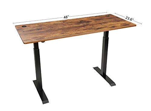 Product Image 8: FEZIBO Electric Height Adjustable Standing Desk with Drawer, 48 x 24 Inches Splice Board, Black Frame/Rustic Brown Top