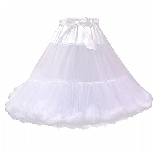 OMKMNOE Tulle Rock Tutu Tutu Tutu Ballet Ballet Ballet Ballet, 50S Vestidos De Baile De Petticoat Accesorios DE Oportunidad Elegantes Vestido De Noche Mujer De Calidad Partido Plisado,Blanco