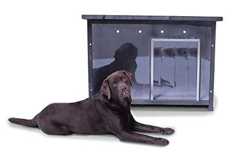 SAUERLAND Wetterfeste Holz-Hundehütte grau mit Front durchsichtig