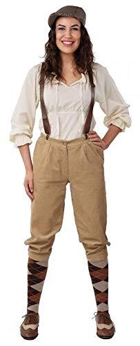 shoperama Knickerbocker Damen Cord Hose 20er Jahre Peaky Blinders Paper Boy Oktoberfest Tracht Kostüm-Zubehör, Größe:36/38
