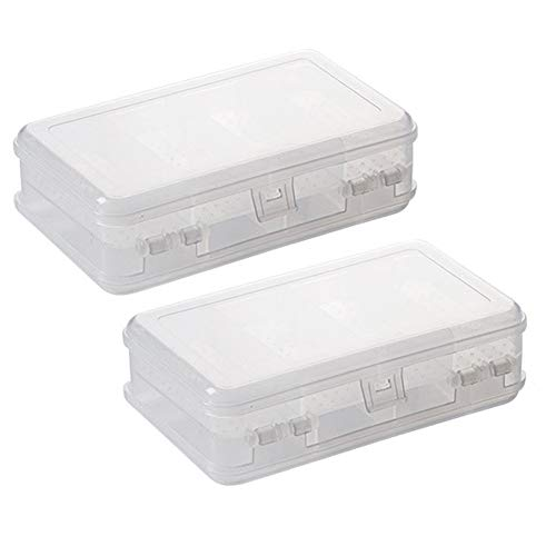 2Pcs Clear Double Layer Plastic Jewelry Box Organizer Storage Container for Earrings, Necklaces, Rings, Bead, Fishing Tackle, Jewelry, Pins, Hair Clips, Screws, Small Items Craft Box Case (10 Grid)
