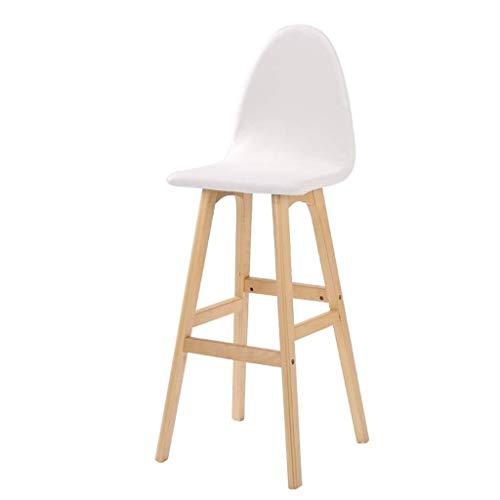 Wuzhengzhijia Holz Vintage Theke Höhe Stühle, Hocker Zähler Sattel, Kunstleder Kissen Bar Kreative Hoch im europäischen Stil aus Holz Vintage Barhocker Höhe 75cm (Size : White)